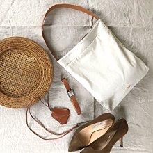 IN House*🇹🇼現貨 簡約 日本 EBURE 皮革提帶 帆布袋 手提袋 米白 帆布包 單肩包 托特包 可裝A4