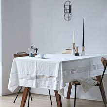 MOK 歐美鄉村風雅緻亞麻鏤空繡花精緻桌布 桌巾 餐桌巾 白色 140*220