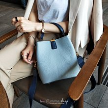 EmmaShop艾購物-韓國同步上新設計師款真皮2WAY撞色水桶包/托特包