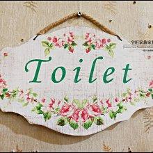 法式鄉村風田園風拓印玫瑰花welcome歡迎光臨toilet洗手間告示牌吊牌掛牌營業中門口玄關裝飾 ♖花蓮宇軒家飾家具♖