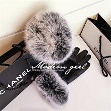 Modem Girl♥名媛款 好質感 保暖 內刷毛超大兔毛皮質手套 (特價)