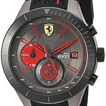 法拉利男士石英不銹鋼和矽膠手錶,黑色(型號:830341)美國購入-全新未拆