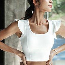 愛運動~韓式健身瑜珈運動休閒荷葉袖短上衣/彈力裸感包覆性強修身顯瘦/綜合訓練韻舞蹈短版上衣衣   R3219