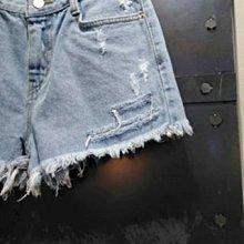 韓國正品(現貨) -新款 NO325 pt 割破鬚鬚牛仔短褲 - S號 - 深藍