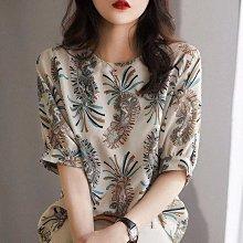 雪紡衫碎花短袖女2021夏季新款韓版寬松百搭高檔氣質洋氣襯衫上衣