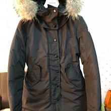 已售出moncler Yolanda 9成新長版狐狸毛帽黑色厚羽絨外套(帽子可拆)14a約大人的0號