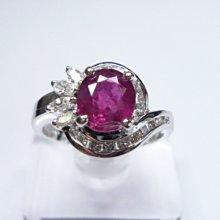 【連漢精品交流中心】《天然紅寶石 1.30CT 》14白K金設計款奢華 紅寶石鑽戒 (女戒)