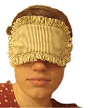 Altinway 眼罩 咖啡色 夏季風采 日本進口純棉布 荷葉邊點點條紋 限量版