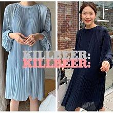 KillBeer:身為名媛的自傲之 韓國代購復古溫柔小姊姊仙氣優雅飄逸百摺雪紡垂墜感連身裙洋裝033008