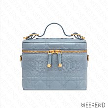 【WEEKEND】 DIOR Small Lady Beauty 小款 羊皮 手拿包 方包 斜背包 淺藍色