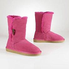 Ginny媽咪【RL Ralph Lauren Polo】全新正品桃色麡皮牛角扣純羊毛內裡保暖雪靴US2 21cm~現貨