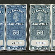 【雲品】加拿大Canada Canadian Revenue FSC25,25a MNH pair 庫號#BF502 65462