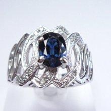 【連漢精品交流中心】《天然藍寶石 1.0CT 》14白K金設計款奢華 藍寶石鑽戒