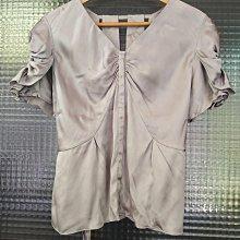 台灣設計師品牌 夏姿 Shiatzy Chen 銀色 100% Silk 純蠶絲真絲v領開襟綁帶上衣