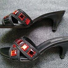 法國品牌 Sonia Rykiel 聖羅蘭黑色真皮紅寶石低跟涼鞋拖鞋跟鞋 Made in Italy