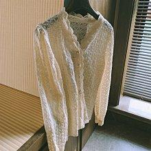 嚴選漂亮法式古典外搭衣開衫 針珍釦蕾絲波浪邊針織外套 艾爾莎【TAE8776】
