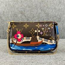【哈極品】未使用品 《Louis Vuitton LV 限定款 老花字紋 威尼斯圖案 金鍊小包 麻將包》