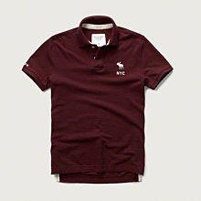 Maple麋鹿小舖 Abercrombie&Fitch * AF 棗紅色電繡麋鹿字母POLO衫*( 現貨L號 )