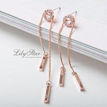 LilyStar.甜美氣質滾輪活動式垂墜鍊條耳環 【YO18101】新增銀色