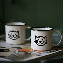 鄉村雜貨小市集*zakka 仿舊復古可愛小貓咪琺瑯杯馬克杯漱口杯