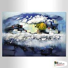 【放畫藝術】精緻抽象B325 純手繪 橫幅 水藍 冷色系 精選 畫飾 無框畫 民宿 餐廳 裝潢 室內設計