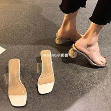 一字拖鞋外穿女2021年夏新款透明水晶跟時尚百搭仙女風高跟涼拖鞋