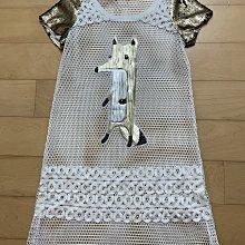 專櫃品牌VKparis 白色綴金亮片美麗罩衫長上衣洋裝
