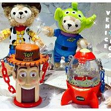 Venice維娜絲日本連線代購東京迪士尼樂園限定~玩具總動員 胡迪/三眼怪火箭造型糖果罐吊飾