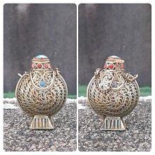 【MarsC】早期老物銅胎掐絲寶石裝飾金屬鼻煙壺
