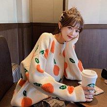 促銷九五折 針織套頭毛衣女秋季新韓版圓領寬鬆休閑小清新橘子長袖上衣