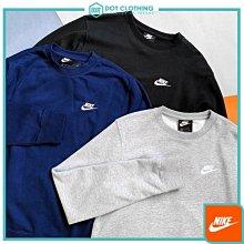 DOT 聚點 Nike FRENCH TERRY CREW 大學T 衛衣 黑白 小LOGO 刺繡 804343-010