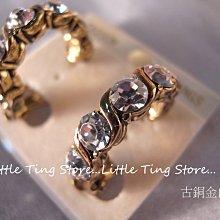 奧地利施華洛世奇SWAROVSKI 6顆水晶水鑽古銅金白鑽麻花貼耳環貼耳飾夾式耳環 3色