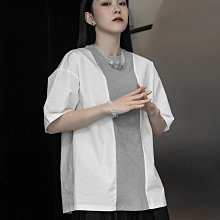 ►DR.DESIGN│DR32612大特價599元-暗黑設計師 撞色針織拼接 寬鬆 休閒 帥氣 短袖圓領T恤 黑/白/灰