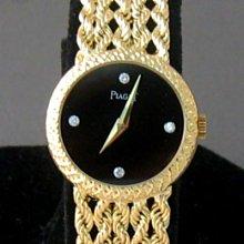 順利當舖  PIAGET/伯爵 原裝18K金優雅黑寶石鑽面女錶