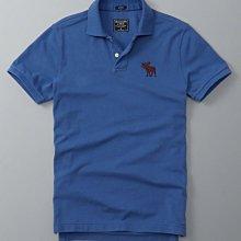 Maple麋鹿小舖 Abercrombie&Fitch * AF 藍色電繡大麋鹿POLO衫*( 現貨XXL號 )
