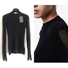 ALLSAINTS 全新真品黑色cashmere 喀什米爾羊毛蕾絲針織墊肩式長袖上衣毛衣 針織衫絕美款
