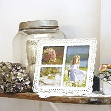 日本KISHIMA TULLE 純白鏤空蕾絲水鑽 3格金屬結婚相框 /KP-31247/ LADONNA婚禮.結婚佈置