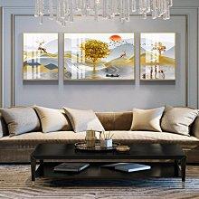 油畫輕奢客廳裝飾畫沙發背景墻壁畫鋁合金有機玻璃畫現代大氣三聯掛畫