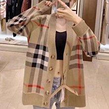 【妖妖代購】Burberry 21新款經典格紋羊毛針織外套/圓領針織衫