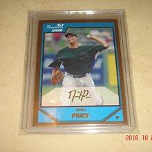 美國職棒 Red Sox David Price 2007 Bowman Draft Gold (厚卡) 新人卡 球員卡