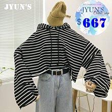 JYUN'S 春季新款韓版減齡學生條紋連帽上衣高腰寬鬆短款長袖套頭T恤 1色 現貨