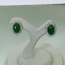 順利當舖  緬甸產A貨蛋面綠翡翠18K白金鑽石耳環