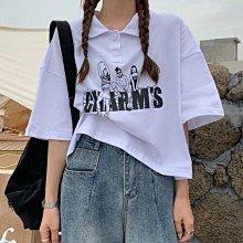 炸街辣妹上衣夏季年新款歐美Polo小衫寬松短款灰色短袖T恤女