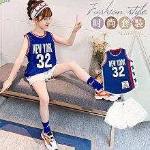 小圖藤童裝~~~中大童~~~女童夏装2021新款套装大童球衣休閒運動篮球服(A2623)