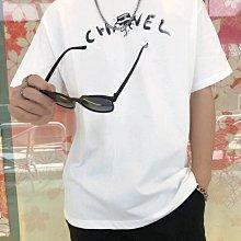 CHANEL 春夏新款 香奈兒5號塗鴉 T恤 黑白手繪字母logo膠漿印花 完美♥️獨特手繪 男女同款👫 黑色 白色 S M L XL XXL