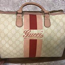 二手Gucci 粉色皮邊 PVC波士頓包