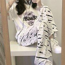 單/套裝女夏季時尚韓版寬松復古印花學生短袖T恤斑馬紋休閑闊腿褲