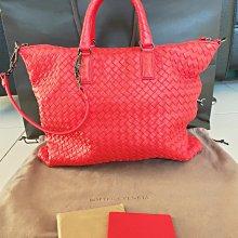 #小謹店舖#BOTTEGA VENETA BV 紅色小羊皮編織手提包肩背包兩用包 專櫃正品 近全新