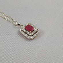 順利當舖  1.00ct 緬甸產天然紅寶石優雅鑽石墜子
