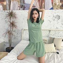 睡衣女夏季套純色兩件套薄款加大碼冰絲短袖五分褲可外穿家居服